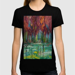 Red Trees Thick Impasto Abstract  Painting T-shirt