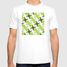 Green & brown stars & squares pattern Mens Fitted Tee MEDIUM White