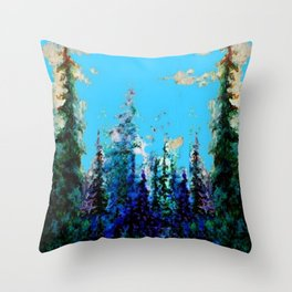 Scenic Blue-Purple Mountain Trees Landscape Throw Pillow