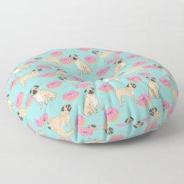 Pug Donuts pet portrait junk food doughnuts animals pet portrait dog art dogs pugs cute fur baby Floor Pillow