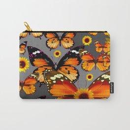 YELLOW & BROWN BUTTERFLIES  SUNFLOWER GREY ART Carry-All Pouch