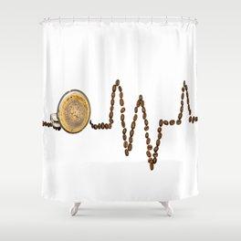 Coffee Heartbeat Shower Curtain