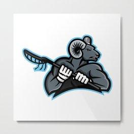 Bighorn Ram Lacrosse Mascot Metal Print
