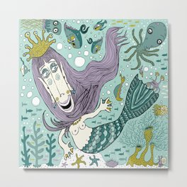 Quirky Mermaid with Sea Friends Metal Print