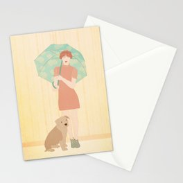 Girl and dog Stationery Cards