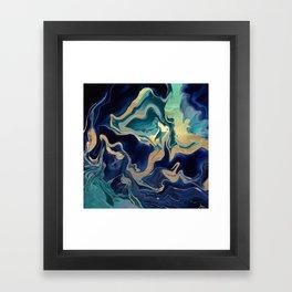 DRAMAQUEEN - GOLD INDIGO MARBLE Framed Art Print