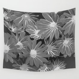 Gray Flowers Wall Tapestry