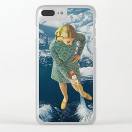Spraying snow on the mountains Clear iPhone Case