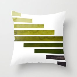 Olive Green Midcentury Modern Minimalist Staggered Stripes Rectangle Geometric Aztec Pattern Waterco Throw Pillow