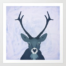 the blue stag Art Print