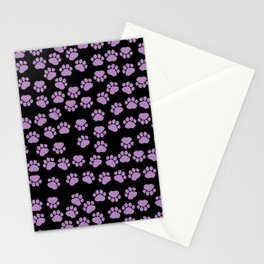 Dog Paws, Traces, Paw-prints - Purple Black Stationery Cards
