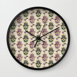 Hamsa Hand pattern - marble, amethyst and gold Wall Clock