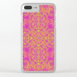 Pink, Orange, and Yellow Kaleidoscope 3 Clear iPhone Case