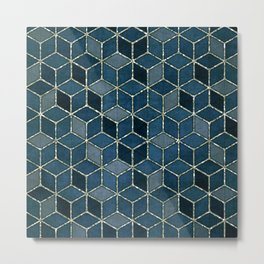 Shades Of Turquoise Blue Cubes Pattern Metal Print