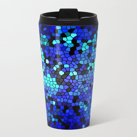 STAINED GLASS BLUES Metal Travel Mug