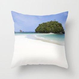 Deserted Island with white beach Throw Pillow