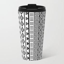 Aztec Influence Pattern II Black on White Travel Mug