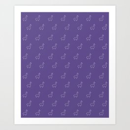 Baesic Llama Pattern (Ultra Violet) Art Print