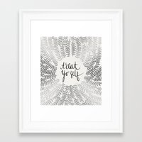 treat yo self Framed Art Prints featuring Treat Yo Self – Silver by Cat Coquillette