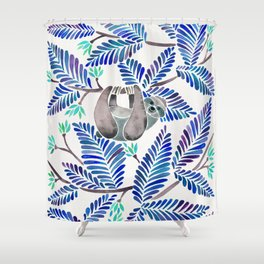 Happy Sloth – Tropical Blue Leaves Shower Curtain