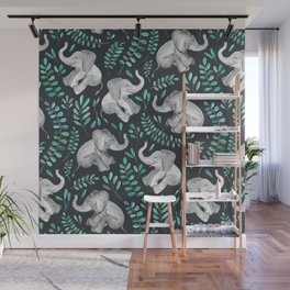 Laughing Baby Elephants – emerald and turquoise Wall Mural