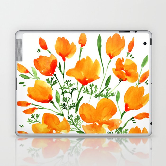 Watercolor California poppies Laptop & iPad Skin