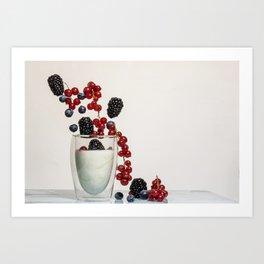 fruits and yogurt Art Print