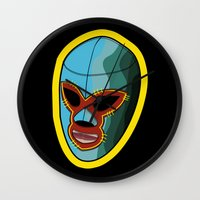mask Wall Clocks featuring mask by mark ashkenazi
