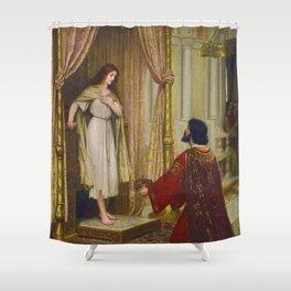 "Edmund Blair Leighton ""The King and the Beggar-maid"" Shower Curtain"