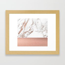 Rose gold marble and foil Framed Art Print