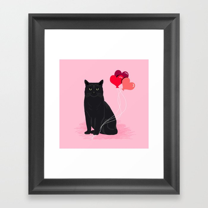 Black Cat valentines day balloons hearts cat breeds must have gifts valentine's day Gerahmter Kunstdruck