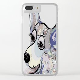 Corgi in Denim Colors Clear iPhone Case