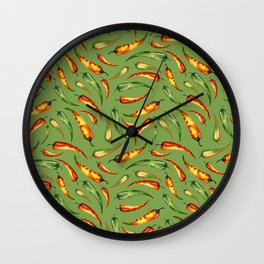 Watercolor seamless hand drawn pattern with red hot chilli peppers.  Wall Clock