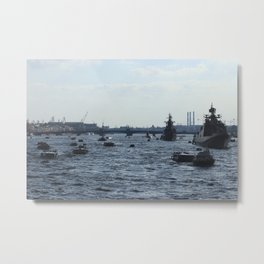 Huge water traffic on Neva River. Many passenger boats with Russian Navy Battleships and submarine. Metal Print