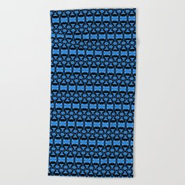 Dividers 02 in Blue over Black Beach Towel