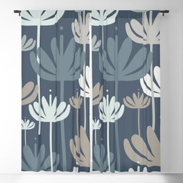 Bali Flowers Botanical Pattern in Neutral Blue Gray Blackout Curtain