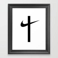 Swoosh Cross (... And Deliver Us From Evil) / Black Framed Art Print