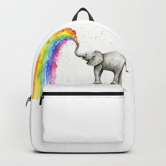 Baby Elephant Spraying Rainbow Whimsical Animals Backpack