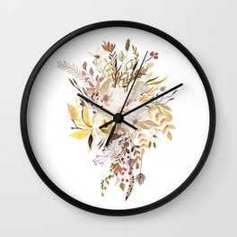 Pretty Autumn Flower Bouquet Wall Clock