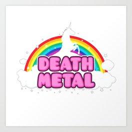 HEAVY METAL Funny Unicorn - Rainbow Mosh Parody Design) T-Shirt Art Print