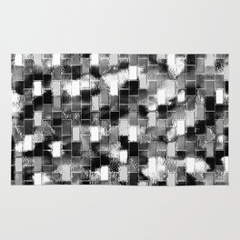 BRICK WALL SMUDGED (Black, White & Grays) Rug