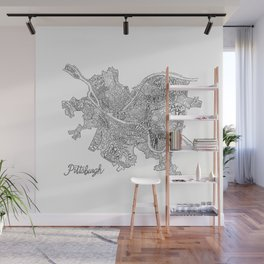 Pittsburgh Neighborhoods - black and white Wall Mural