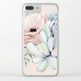 Elegant Blush Pink Succulent Garden by Nature Magick Clear iPhone Case