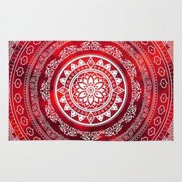 'Scarlet Destiny' Red & White Flower Of Life Boho Mandala Design Rug