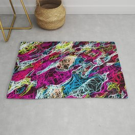 psychedelic rotten sketching texture abstract background in pink blue yellow Rug