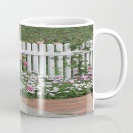 White Picket Fence & Roses Coffee Mug
