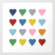 16 Hearts Art Print