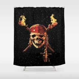 Fire Skull Of Pirates Shower Curtain