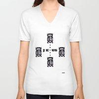 jesus V-neck T-shirts featuring Jesus by Friedrich Nebraska