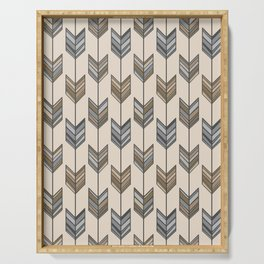 Boho Arrow Fletching Pattern - Neutral Brown and Grey Serving Tray